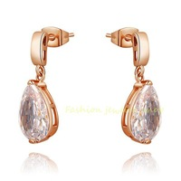 Best-Selling1 18k Rose Gold Gp Exquisite Crystal Zircon CZ Earrings KKE4490