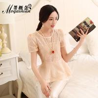 Summer prettifier gentlewomen lace shirt short-sleeve top
