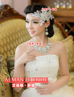 lace hair accessory rhinestone married necklace 3pcs/set wedding dress accessories