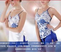 LZ sleepwear blue and white porcelain lace flower embroidery women shorts strap pajama set lady night clothing 14013 M L XL XXL