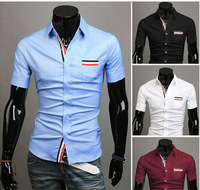 2014 free shipping mens dress shirts short sleeved slim fit shirt 4 clolor lowest price 8687