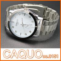 HOT SELL brand sports watch CAQUO stainless steel waterproof quartz watch round round analog gents wristwatch simple watch #9151