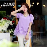 Summer embroidered net shirt short-sleeve o-neck basic shirt embroidery top women's