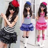 Hu sunshine wholesale new 2014 summer hot slae  girls dress fashion pink purple black striped sleeveless tank dress
