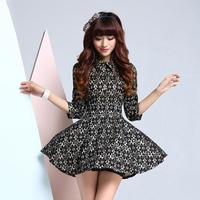 2014 spring elegant women's slim three quarter sleeve lace one-piece dress black shirt collar puff skirt