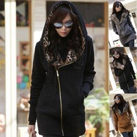 New 2014 Autumn&Winter Women's Leopard Oblique Zipper Hoodies Pullover Coat Outwear Tunic Sweatshirt Hoody Free&Drop Shipping