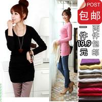 1 9.9 candy color medium-long long-sleeve slim hip skirt thickening t-shirt basic shirt female plus velvet