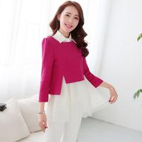 2014 women's three quarter sleeve organza one-piece dress woolen twinset a-line skirt