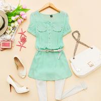- z812 2014 spring women's o-neck rivet medium-long short-sleeve chiffon shirt d-10