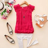 - c010 2014 spring women's aerospace o-neck solid color vest chiffon shirt d-17