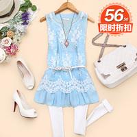 - k351 2014 spring women's V-neck pearl crochet vest skirt chiffon shirt d-07