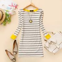 - d711 2014 spring women's o-neck stripe medium-long basic t-shirt b-17