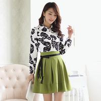 2014 summer fashion women's slim long-sleeve chiffon one-piece dress faux two piece print one-piece dress