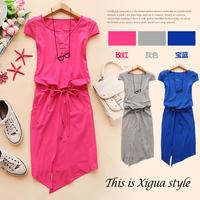 - b660 2014 spring and summer women's V-neck pads butterfly sleeve drawstring slim waist one-piece dress c-20