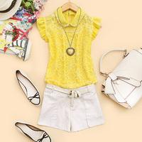 - c386 2014 spring women's turn-down collar pearl ruffle hem sleeveless chiffon shirt c-27