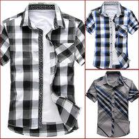 man spring 2014 new brand camisas striped casual mens shirts short sleeves fashion man plus size 5XL 6XL slim fit Men's clothing