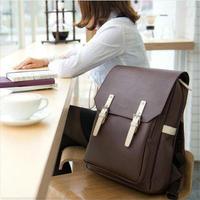 Backpacks School bag double-shoulder mochila couro backpack PU bag preppy style black travel bags  mochila couro feminina