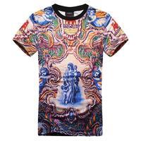 2014 New brand shirt Men retro vintage element print 3D short sleeve T-shirt male M/L/XL drop shipping Nora050056