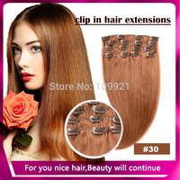2014!100% Nature Hair With Clips Virgin Hair Clip In On Human Straight 15 18 20 22 24inch 7Pcs/Full Head Set #30 Light auburn