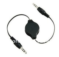 high quality fedex shipping 500pcs 75cm 3.5mm Black and white Retractable AUX Auxiliary Cable Cord for ipod MP3 CAR