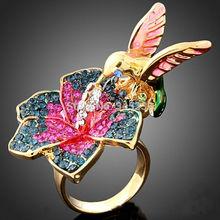New Fashion Gorgeous AAA+ Austria Crystal Rings New  Women Luxury Jewelry Fashion Bird & Flower Rhinestone Wedding Ring(China (Mainland))