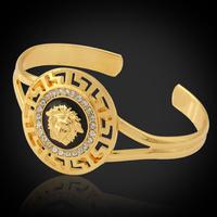 Vintage Item Lion Head Beautiful Medusa Rhinestone Cuff  Bangles Bracelets 18K Gold Plated Jewelry For Women Or Men MGC H643