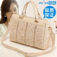 2014 fashion women handbag leather messenger bags lace zipper lace handbag vintage shoulder cross-body lace big bag casual
