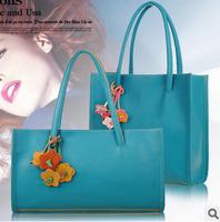 Helen's bag 2014 women handbag leather messenger bags vintage small shoulder candy color flower color block bag children school
