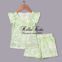 Children Summer Newest Clothes Suits 2 Pcs Girls Polyester T Shirt Toddle Light Green Pants For Toddle Outfit 2014 Clothing Set
