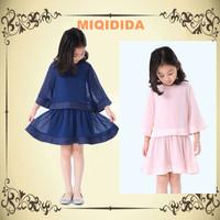 New 2014 summer vintage fashion girl clothing set 1414012 polka dot shirt and dress o-neck  children kids clothes set