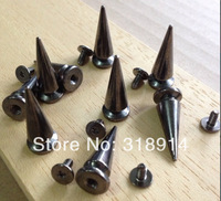 20pcs 10*25mm Gun-black Fashion Bullet Spikes Clothing Punk With Rivets  Cone Studs DIY Garment Free Shipping