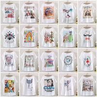 2014 New Hot Fashion Vintage Spring Summer Digital Printing Girl Women's Loose Short Batwing Sleeve T-shirt Printed Tee T Shirts