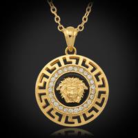 New Classic Vintage Jewelry Lion Head Myth Medusa Pendant Necklace 18K Gold Plated Rhinestone Fashion Jewelry Wholesale  P643