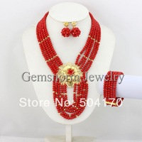 Fashion Red Nigerian African Bead Necklace Set Indian Wedding Gold Plated Jewelry Set Crystal Beads Jewelry Set GS036