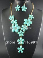 New Unique Big Crystal Bib Neon Chunky Beaded Purple Blue Statement  Choker Flower Necklaces Set Jewelry