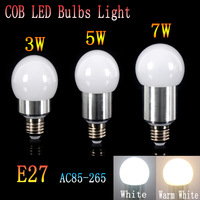 1PCS 3W/5w/7w  LED Bulb Spot Light E27 Cool White/Warm White Non-dimmable AC85-265V COB lamp Lighting Epistar