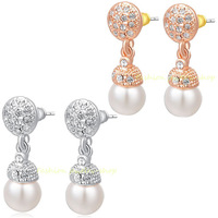 18K Rose/White Gold GP Exquisite Crystal White Pearl Earrings KKE290