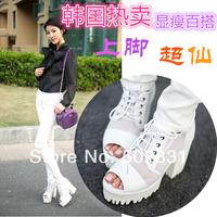 Small gauze open toe thick heel platform sandals 11cm women's high-heeled shoes platform single shoes summer
