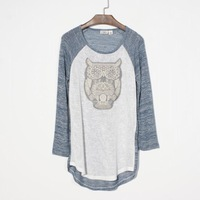 Ms cherry Embroidery three-dimensional owl raglan sleeve loose plus size sweater new arrival women's 2014