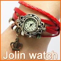 Minimum order 2pcs women fashion&vintage style quartz round leather chain watches ladies watch wristwatch girl beauty gift