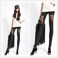 Free Shipping 2014 Newest Sexy Women Faux Leather Leggings Fashion Hollow Lace Pants Sexy PU Punk Leggings For Women