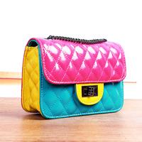 free shipping  mini one shoulder cross-body small women's handbag casual plaid color block chain small bag