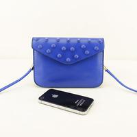 candy color double layer fashion rivet mobile phone bag coin purse mini bag one shoulder cross-body women's handbag