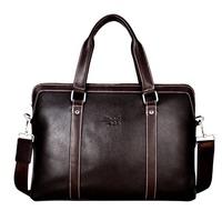 Handbag Men 14'' Laptop Bag Genuine Leather Messenger Shoulder Bag Men Business Black Vintage Causal Bag