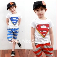New 2014 Arrival Summer Baby Kids Clothing Sets Child Casual Suit Boys Girls Short Sleeve T-shirt + Pant Children Set