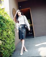 2014 Time-limited Limited Sashes Skirts Womens Skirts Saias Femininas Maryme Placketing High Waist Slim Hip Leather Skirt Bust