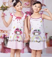 Summer paragraph child nightgown female 100% cotton lounge spaghetti strap cape nightgown knitted cotton 100%