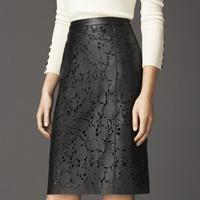 2014 New Short Sheer Skirts Free Shipping Luxury Spring And Autumn Laser Cutout Bust Medium-long Step Skirt Slim Hip Sheepskin