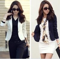 2014 New Collection Stylish Womens One Button Tunic Foldable Sleeve Blazer Jackets M L XL XXL white blue black 689