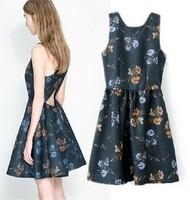 2014 New Arrival women summer dresses Grass Print flower backless dress sexy bandage bodycon dress vestidos